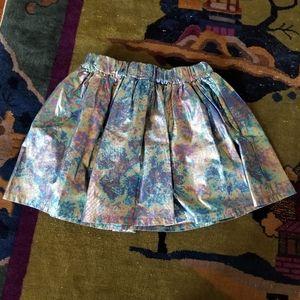 Girls Finger in the nose metallic foil print skirt